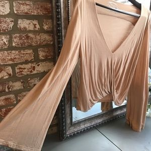 Tan BlueLife bell sleeved top in size small